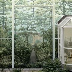 Wandbild im Hof, das Gewächshaus